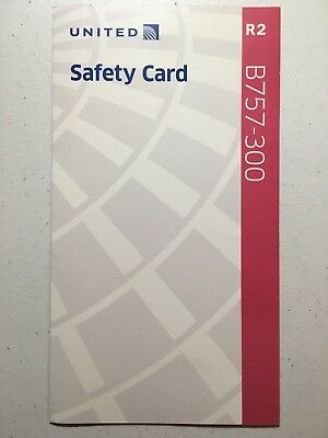 United Airlines B757-300 Safety Card (R2) Information Flight Airplane Seatback