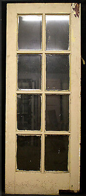 "2 avail 32""x79"" Antique Vintage French Wooden Swinging Door 8 Beveled Glass Lite"