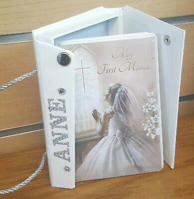 HOLY COMMUNION beautiful mass book in bag purse with personalisation, great gift