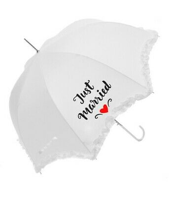 White Frilled Edge Red Heart Just Married Wedding Party Umbrella / Parasol 90cm