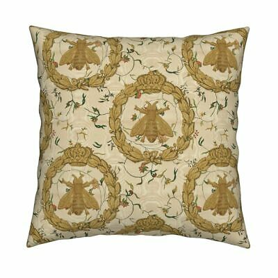 Royal Bees French Bee Antique Throw Pillow Cover w Optional Insert by Roostery