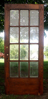 "36""x84 Antique Vintage Oak Wood Exterior Entry French Door 12 Beveled Glass Lite"