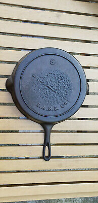 Antique Gate Mark 9 Cast Iron Skillet I A S & Co Heat Ring HTF Civil War Fancy
