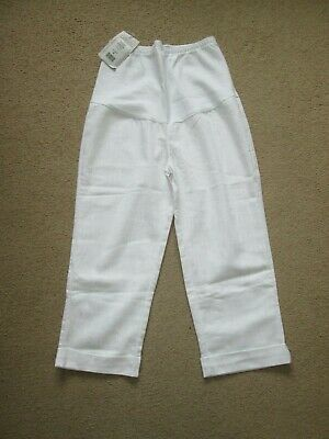 Lovely Size 8-10 New White Cropped Maternity Trousers See Pics!!