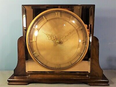 Vintage Art Deco Style Mirrored Mantle Wind Up Clock, Working order