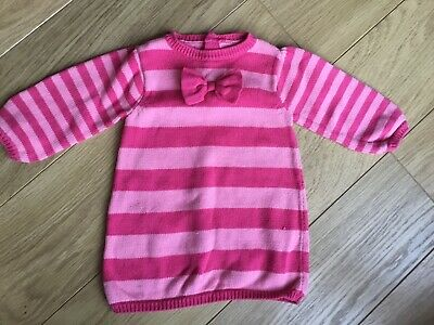 George Baby Girl Pink Striped Jumper Dress With Bow 3-6 Months 🎀