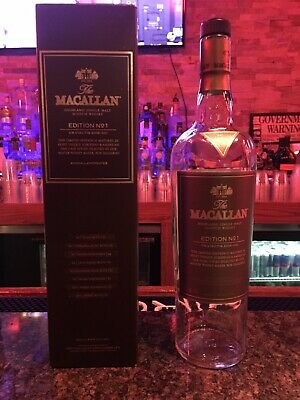 Rare The Macallan Edition No. 1 Limited Edition Scotch Whisky Empty Bottle W/box