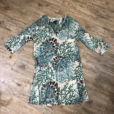 ca4d0ba46d EUC TALBOTS SHIBANI Navy Sea Shell Print Swim Cover-Up~Sz Small ...
