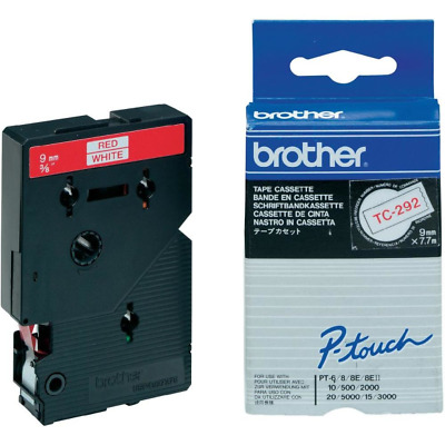Brother TC292 P-touch TC 292 white/red 9 mm - Original - Label Tape magenta