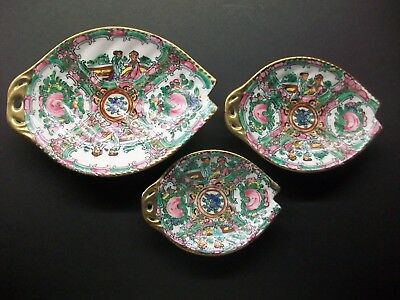 Three Chinese Famille Rose Unusual Shaped Plates