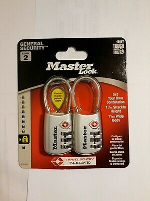 Master Lock Padlock 4688T Set Your Own Combination TSA Accepted Cable Luggage...
