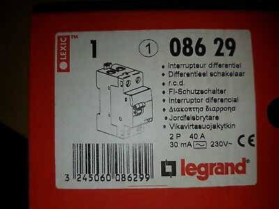 Differential switch single phase RCD 40a 30ma, legrand 08629, type ac, 40 amp