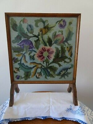 Antique VTG Standing Fireplace Screen Oak Wood Framed Needlepoint