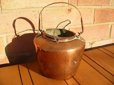 Antique Dovetail Copper Brass Glue Pot Georgian Or Victorian With Handles