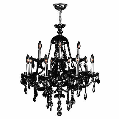 """CLEARANCE Provence 12 Light Black Crystal Chandelier 28""""x31"""" Two 2 Tier Large"""