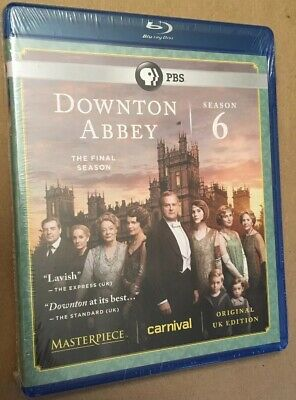 Masterpiece: Downton Abbey - Season 6 (Blu-ray Disc, 2016, 3-Disc Set) NIP