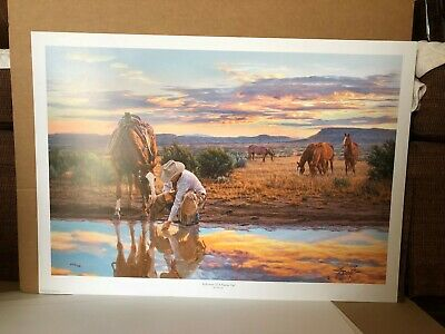 """Reflections Of A Passing Day"" Western Art Print Signed and numbered by Tim Cox"
