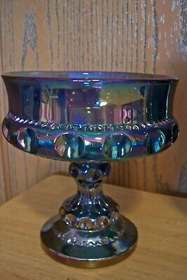 Indiana Glass Pedestal Candy Dish Bowl Iridescent Blue Opal Carnival Kings Crown