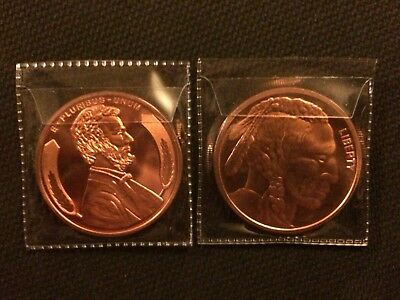Lot of two 1oz .999 Fine copper Rounds (1909 Lincoln & Indian Head)