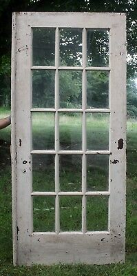 "36""x84"" Antique Vintage Wood Wooden Exterior Entry French Door Window Wavy Glass"