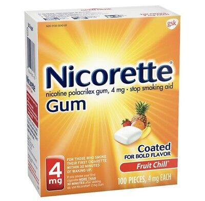 Nicorette Gum 4mg FRUIT CHILL 100 Pieces EXP: 05/2021 Stop Smoking Aid Coated