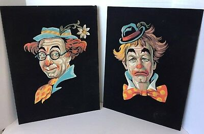 2 Vintage Paint On Velvet Clown Paintings Paint By Number PBN Finished Unframed