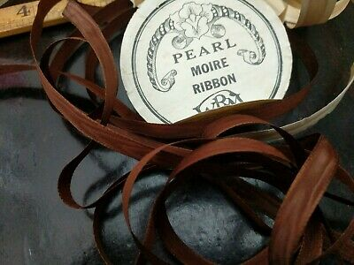 Antique Spool Narrow Brown Silk Moire Ribbon 3 yards Doll Dress Period Costume