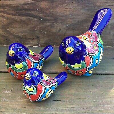 Talavera Pottery Birds - Mexican Hand Painted Ceramic Pajaro - Three Piece Azul