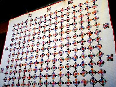 Vintage dated 1937 Nine Patch Quilt signed hand quilted 1930's postage stamp