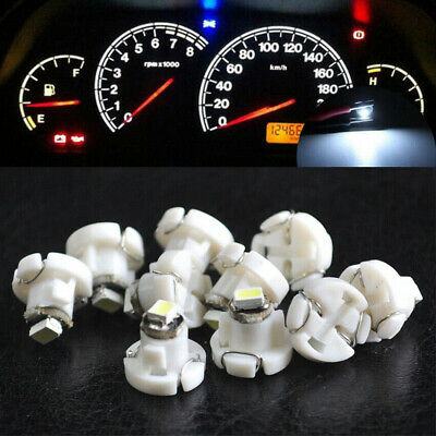 10Pcs White 12V T4.2 Neo Wedge 1-SMD LED Cluster Instrument Dash Climate Bulbs