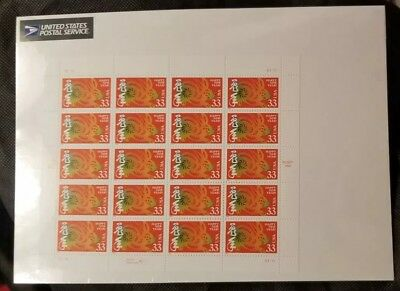 US 3272 Stamp 33 cent Chinese Happy New Year Rabbit Full sheet of 20 1999