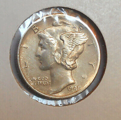 1940-s. Mercury Dime . AU .  Nearly Unc. . Almost Uncirculated