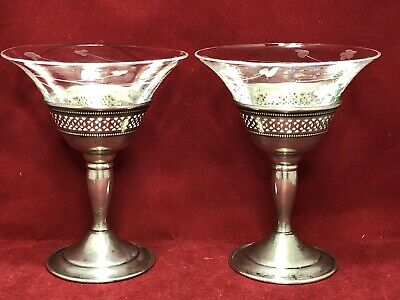 2 CARTIER Sterling Silver Etched Crystal Sherbet Goblet Martini Cordial Pierced