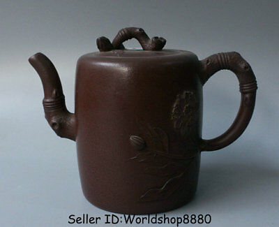 "7.2"" Marked Old China Yixing Zisha Redware Carved Flower Handle Teapot Teakettle"