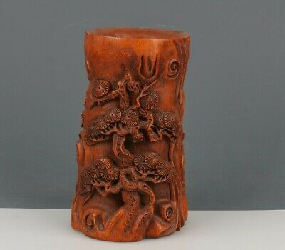 Chinese Exquisite Hand-carved pine tree carving bamboo Brush Pot