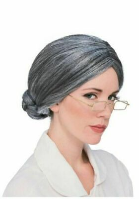 Grandma Wig Old Lady Woman Grey Silver Granny Mother Dress Up Costume Part