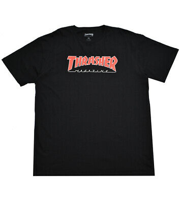 d4c5ba2cbf27b8 XL Thrasher Magazine Outlined T-Shirt Black Red Mens Skateboard Fashion Tee  NEW
