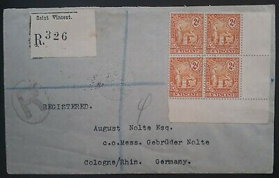 VERY RARE 1909 St Vincent Registd Cover ties block of 4 x 2d stamps to Germany