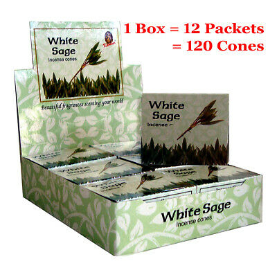Kamini Incense Cones - WHITE SAGE - BULK - 1 Box = 12 packets = 120 Cones