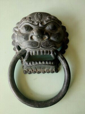 Chinese antique Old Bronze Fierce Lion Head Door home Knocker 18cm