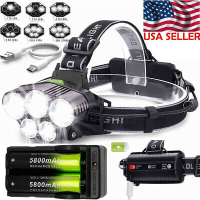 Headlamp 150000LM 5XT6 LED Super Bright Rechargeable Headlight Torch 2x18650