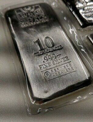 10 oz Republic Metals Corp. (RMC) Silver Bar .999 Fine (Cast,Sealed)