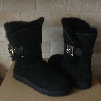 2d3d8756357 UGG JAYLYN BLACK Suede Fur Cuff Buckle Ankle / Short Boots Size US 9 ...