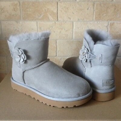 d5afb76629b UGG MINI BAILEY Petal Bling Swarovski Seal Grey Suede Boots Size US 5  Womens NEW