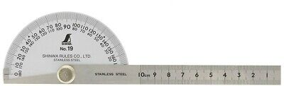 SHINWA Japan Protractor No.19 Single Blade Stainless Steel Popular Size 62480