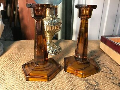 Pair of Antique Vintage 1920's English Davidson Cloud Glass Candlesticks
