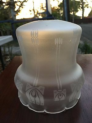 Antique Art Nouveau English Frosted Glass Lamp Light Shade
