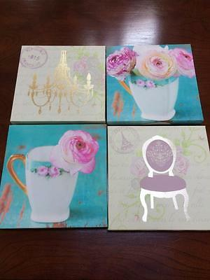 4 x modern home decorator  prints floral and french theme