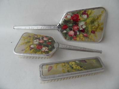 Vintage Art Deco Floral Tulips Dressing Table Vanity Brush Mirror 3 Pce Set