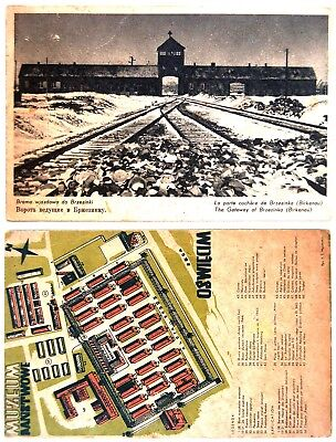 1947 Polish 7 PHOTO POSTCARDS Holocaust AUSCHWITZ BIRKENAU Camp MAP Judaica